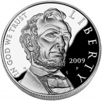 2009 Abraham Lincoln Commemorative Silver Dollar Proof Coin, Obverse - Click to Enlarge