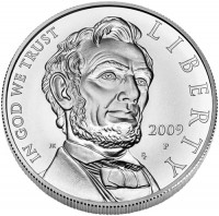 2009 Abraham Lincoln Commemorative Silver Dollar Uncirculated, Obverse - Click to Enlarge