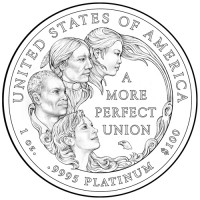 2009 American Eagle Platinum Proof Coin Line-Art, Reverse - Click to Enlarge