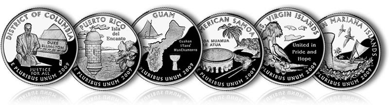 Mint Territory Quarters Box COA D.C Puerto Rico 2009 State Proof Quarter U.S