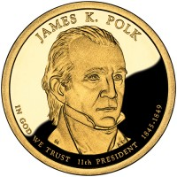 2009 James K. Polk Presidential $1 Proof Coin, Obverse - Click to Enlarge