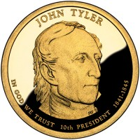 2009 John Tyler Presidential $1 Proof Coin, Obverse - Click to Enlarge