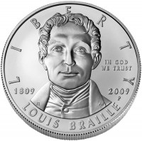 2009 Louis Braille Bicentennial Silver Dollar Uncirculated Coin, Obverse - Click to Enlarge