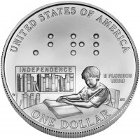 2009 Louis Braille Bicentennial Silver Dollar Uncirculated Coin, Reverse - Click to Enlarge