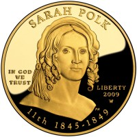 2009 Sarah Polk First Spouse Gold Coin, Obverse - Click to Enlarge