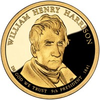 2009 William Henry Harrison Presidentian $1 Proof Coin, Obverse - Click to Enlarge