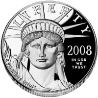 American Eagle Platinum Proof Coin, Obverse (2008 Version Shown) - Click to Enlarge