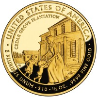 2009 Letitia Tyler First Spouse Gold Coin, Reverse - Click to Enlarge