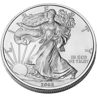 2009 American Eagle Silver Bullion Coin, Obverse (2008 version shown)- Click to Enlarge