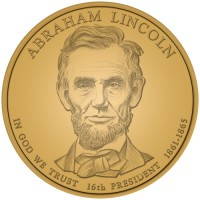 2010 Abraham Lincoln Presidential $1 Coin, Obverse - Click to Enlarge