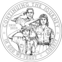 Boy Scouts Silver Dollar Obverse Final Coin Design - Click to Enlarge