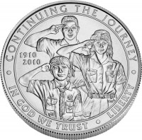 Boy Scouts Silver Dollar Uncirculated Coin Obverse