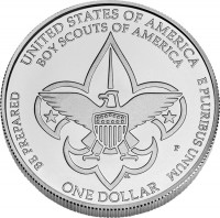 Boy Scouts Silver Dollar Uncirculated Coin Reverse