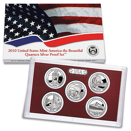 2010 America the Beautiful Quarters Silver Proof Set - Click to Enlarge