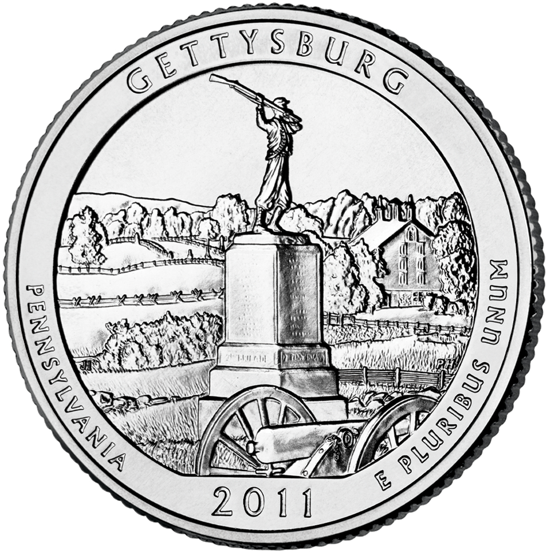 2011 Gettysburg Quarter Us Coins