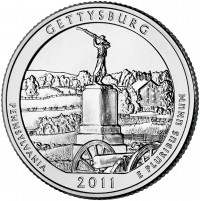 Gettysburg 5 oz Silver Coins (Image of Related Quarter Shown) (US Mint image)