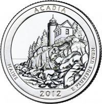Acadia ATB 5 Oz Silver Coin (associated quarter image shown) (US MInt image)