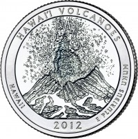 Hawaii Volcanoes ATB 5 Oz Silver Coin (associated quarter image shown) (US Mint image)