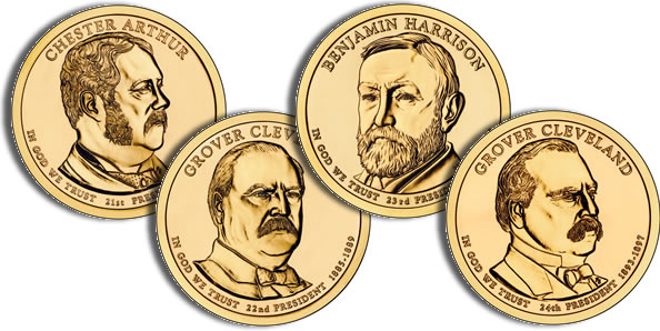 2012 P/&D 1st Term - $1 Presidential Golden Dollar Coin Set Grover Cleveland