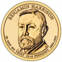 Banjamin Harrison Presidential $1 Coin (Obverse) (US Mint image)