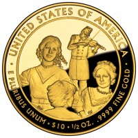 Eliza Johnson First Spouse Gold Coin (Reverse) (US Mint image)