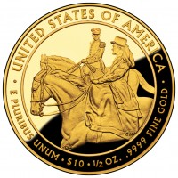 Julia Grant First Spouse Gold Coin (Reverse) (US Mint image)