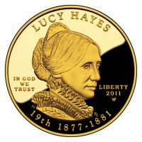 Lucy Hayes First Spouse Gold Coin (Obverse) (US Mint image)