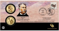 21st American Presidency $1 Coin Cover Featuring President Chester Arthur