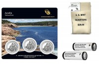 Acadia National Park Quarter Bags, Rolls and Three Coin Sets